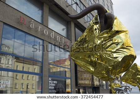 PRAGUE, CZECH REPUBLIC - FEBRUARY 5, 2016: Circle of Animals / Zodiac Heads by contemporary Chinese artist Ai Weiwei displayed in front of Trade Fare Palace / the National Gallery in Prague.