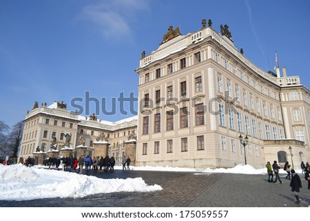 PRAGUE, CZECH REPUBLIC - FEBRUARY 24, 2013: Hradcany - the Prague castle in Prague at sunny winter day. Prague - Czech capital. Population - 1.3 million people (2013).
