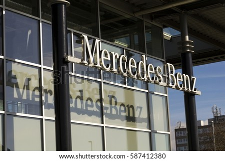 PRAGUE, CZECH REPUBLIC - FEBRUARY 25: Mercedes-Benz car logo on dealership building on February 25, 2017 in Prague, Czech republic. Daimler does deal with Uber on autonomous vehicles fleet.