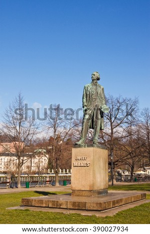 Prague, Czech Republic - February 22, 2016: Monument for famous czech painter Josef Manes. He made paintings of the twelve months in face of the Prague Astronomical Clock. - stock photo