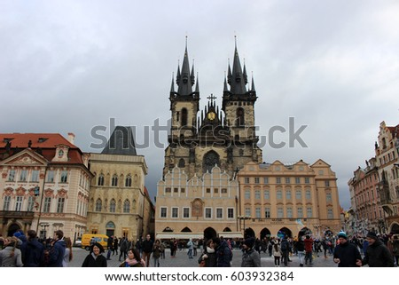 PRAGUE, CZECH REPUBLIC - February 21, 2017: Old Town Square and Tyn Cathedral in  Prague, Czech Republic
