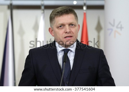 Prague, Czech Republic - February 15, 2016: The Prime Ministers of Slovakia Robert Fico is speaking during a press conference after meeting of The Visegrad Group (V4) in Prague, Czech Republic. - stock photo