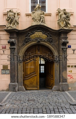 PRAGUE, CZECH REPUBLIC - FEBRUARY 03, 2014: Vintage entrance gate in Old Town of the Prague.