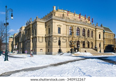 PRAGUE, CZECH REPUBLIC - JAN 25, 2012: neo-renaissance concert hall Rudolfinum, Old town in Prague, Czech republic.. UNESCO, national cultural landmark. Home stage of Czech Philharmonic Orchestra.