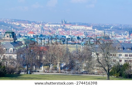 PRAGUE, CZECH REPUBLIC, JANUARY 30, 2015: aerial view of prague with prague castle in the center taken from the rieger orchards.