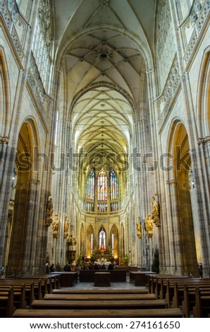 PRAGUE, CZECH REPUBLIC, JANUARY 30, 2015: detail of interior of saint vitus cathedral inside of the prague castle.