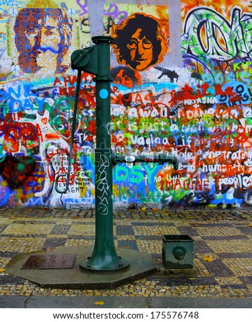 PRAGUE, CZECH REPUBLIC - JANUARY 21: The Lennon Wall since the 1980s filled with John Lennon-inspired graffiti and pieces of lyrics from Beatles songs on January 21, 2014 in Prague, Czech Republic