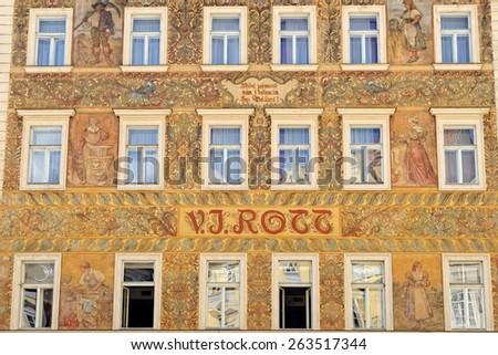 PRAGUE, CZECH REPUBLIC - JULY 3, 2014: Facade of famous house Rott in the Old Town of Prague. Currently housing a hotel, before that a crystal and  a glass store.