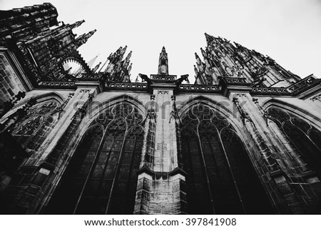 PRAGUE CZECH REPUBLIC - JULY 12: Fragment of Saint Vitus Cathedral facade on july 12 in Prague. Czech Republic.