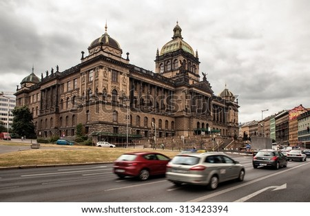 PRAGUE, CZECH REPUBLIC - JULY 1, 2014: Historical Wenceslas Square and national museum in background. It is one of the main city squares and the centre of the business in Prague - stock photo