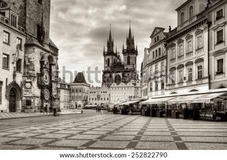 PRAGUE, CZECH REPUBLIC - JULY 1, 2014: The Old Market Square and Church of Our Lady before Tyn in Prague - stock photo
