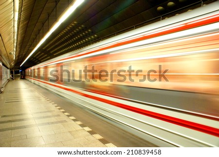 PRAGUE,CZECH REPUBLIC - JULY 18, 2014.Underground Prague subway .Speed transportation.