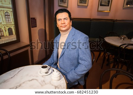 Prague, Czech republic, July 22, 2017: Vladimir Mensik in Grevin museum of the wax figures in Prague.