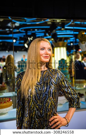 PRAGUE, CZECH REPUBLIC - JUNE 29, 2015: Cameron Diaz, the actress, Grevin museum. Grevin is the museum of the wax figures in Prague - stock photo