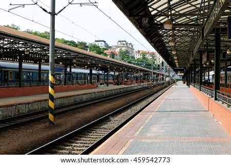 PRAGUE, CZECH REPUBLIC - JUNE 16, 2016: Central railway station in Prague