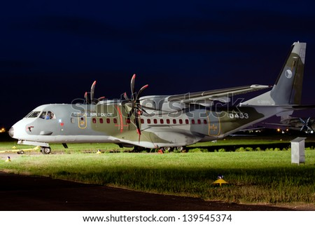 PRAGUE, CZECH REPUBLIC - JUNE 09: Czech Air Force's military transport aircraft Casa 295M stands at the Prague - Kbely Airport during the Prague Museum Night on June 09, 2012.