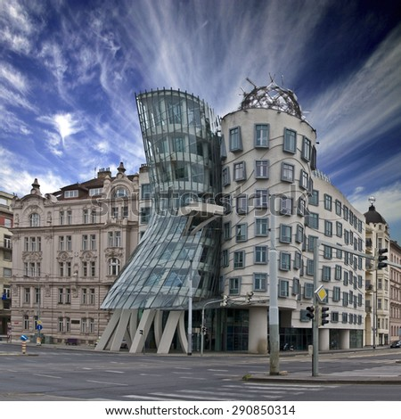 PRAGUE, CZECH REPUBLIC - JUNE 03: Dancing House on June 03, 2012 in Prague. Also known as The Dancing House or Fred and Ginger. - stock photo