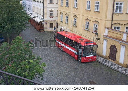 PRAGUE, CZECH REPUBLIC - JUNE 2: Fire brigade setting up bus to serve as head quarters in the flooded Malastrana district, Prague, on June 2, 2013 in Prague, Czech Republic - stock photo