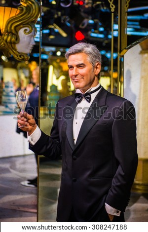 PRAGUE, CZECH REPUBLIC - JUNE 29, 2015: George Clooney, actor, Grevin museum. Grevin is the museum of the wax figures in Prague