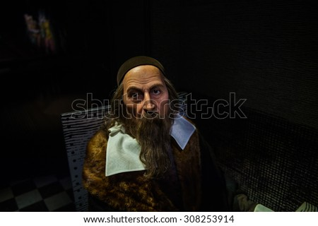 PRAGUE, CZECH REPUBLIC - JUNE 29, 2015: Historical section of the Grevin museum. Grevin is the museum of the wax figures in Prague