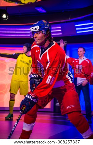 PRAGUE, CZECH REPUBLIC - JUNE 29, 2015: Jaromir Jagr, Czech hockey player, Grevin museum. Grevin is the museum of the wax figures in Prague