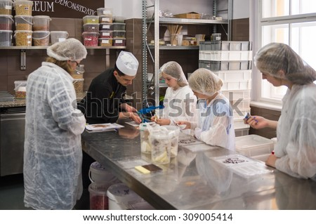 PRAGUE, CZECH REPUBLIC - JUNE 29, 2015: Laboratory of the Choco-story museum in Prague. It is the chocolate museum in Prague