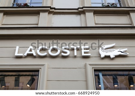 PRAGUE, CZECH REPUBLIC - JUNE 16 2017: Lacoste store in Prague city