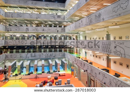 PRAGUE, CZECH REPUBLIC - JUNE 13 2015: National Library of Technology Prague, NTK Prague, Interiors