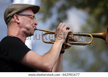 PRAGUE, CZECH REPUBLIC - JUNE 18, 2017: Oscar Torok of Iva Bittova and Cikori performs live on stage during a concert at 20th Respect Festival on June 18, 2017 in Prague, Czech Republic.