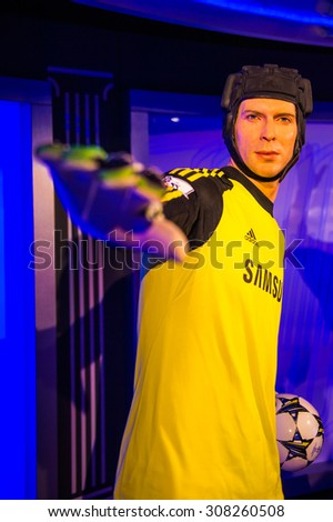PRAGUE, CZECH REPUBLIC - JUNE 29, 2015: Petr Ceh, Czech goalkeeper of Arsenal and Chelsea, Grevin museum. Grevin is the museum of the wax figures in Prague