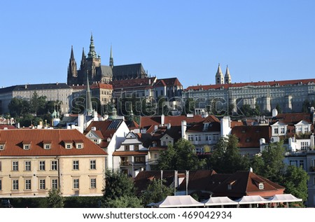 PRAGUE, CZECH REPUBLIC - JUNE 23, 2016: Prague Castle and Cathedral of saint Vitus in Prague, Czech Republic