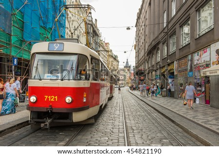 PRAGUE, CZECH REPUBLIC - JUNE 25,2016: Prague City Center. Modern tram in Prague.