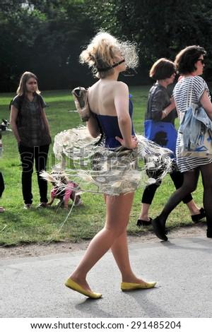 PRAGUE, CZECH REPUBLIC - JUNE 25, 2015: Show of the Chilean costume designer Loreto Monsalve in the Kampa park - Prague Quadriennale 2015 - stock photo