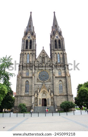 PRAGUE, CZECH REPUBLIC - JUNE, 21st, 2014: Church of St. Ludmila placed on Namesty Mira (Square of Peace) in Prague, Czech republic, on 21st June 2014. - stock photo