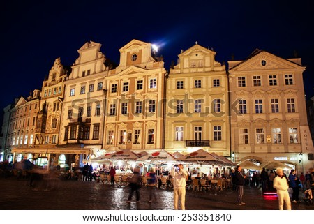 PRAGUE, CZECH REPUBLIC - JUNE, 21st, 2014:Old Town Square in Prague most famous plase for tourists on night time on 21st June 2014. - stock photo