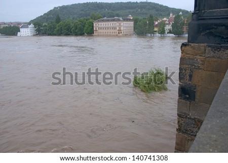 PRAGUE, CZECH REPUBLIC - JUNE 2: Swollen Vltava, view from Charles bridge, on June 2, 2013 in Prague, Czech Republic - stock photo