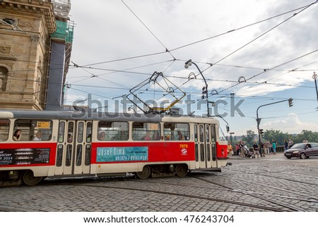 Prague, Czech Republic - June 9th 2014 - The tran of Prague in a cloudy day in Czech Republic