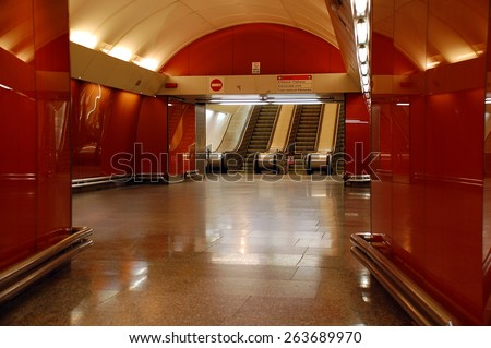 PRAGUE, CZECH REPUBLIC -JUNE 14, 2008: View of subway Krizikova station interior and elevators  - stock photo