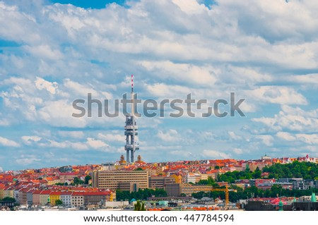 PRAGUE, CZECH REPUBLIC - JUNE 17, 2016: View on Prague lamdmark with Zizkov Television Tower - stock photo