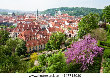 Prague, Czech Republic  Main view of the Mala Strana district   - stock photo
