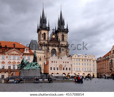 Prague, Czech Republic - March 16, 2014 : Old town square in Prague, Tyn Cathedral of the Virgin Mary and monument of Jan Hus. Czech Republic, World Heritage Site by UNESCO