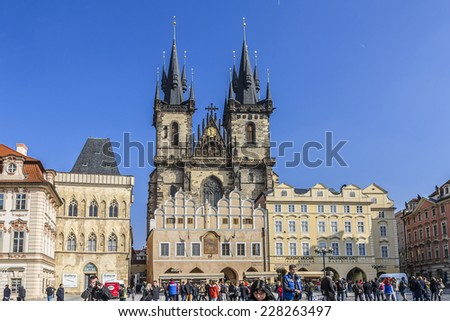 PRAGUE, CZECH REPUBLIC - MARCH 7, 2014: View of old town square in Prague. Prague is Europe's 5th most visited city and World Heritage Site by UNESCO.
