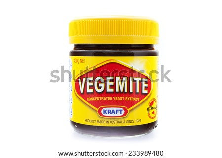 PRAGUE, CZECH REPUBLIC - May 15 2011: A studio shot of a jar of Vegemite. Vegemite is a very popular yeast based spread in Australia. - stock photo