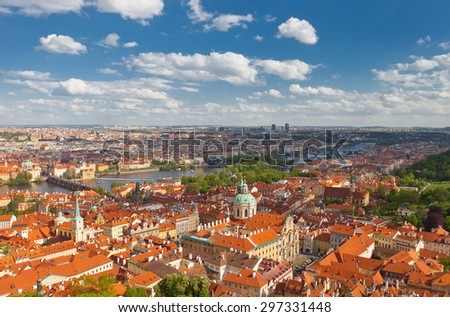 PRAGUE, CZECH REPUBLIC - MAY 07, 2015: Aerial view of old city center of Prague. World Heritage Site of UNESCO