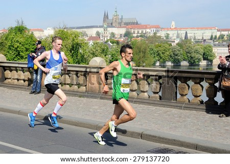 PRAGUE, CZECH REPUBLIC - MAY 3, 2015: Czech runner Vit Pavlista and Moreira run the Volkswagen Marathon Prague, May 3, 2015 in Prague, Czech republic. - stock photo
