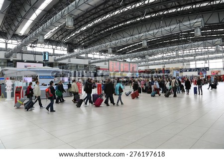 PRAGUE, CZECH REPUBLIC - MAY 07: Departures hall of Vaclav Havel Airport Prague on May 03,2015. Prague Airport is the operator of the most important international airport in the Czech Republic  - stock photo