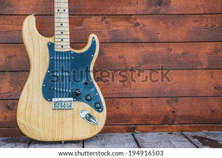 PRAGUE, CZECH REPUBLIC - MAY 24, 2014: Fender stratocaster wooden electric guitar, product shot