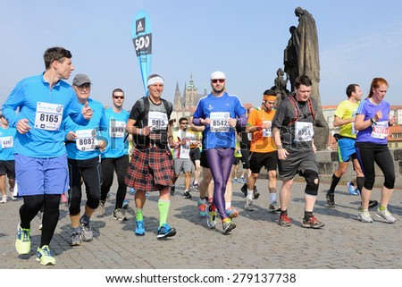 PRAGUE, CZECH REPUBLIC - MAY 3, 2015: Group of runners runs the Volkswagen Marathon Prague, May 3, 2015 in Prague, Czech republic.