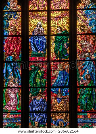 PRAGUE, CZECH REPUBLIC - MAY 2 2015: Ornamental Stained glass in historical St Vitus Cathedral, Prague castle, Czech republic - stock photo