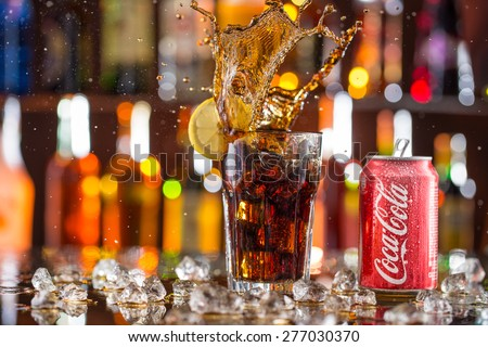 PRAGUE, CZECH REPUBLIC - may 5, 2015: Photo of can of Coca-Cola Classic. Coca-Cola is the one of the worlds favorite carbonated beverages. - stock photo